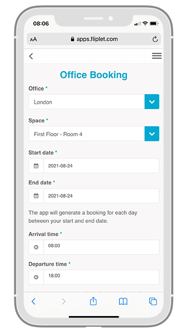 Macfarlanes Return to Office app - Office Booking