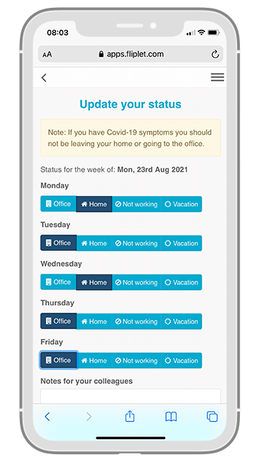 Macfarlanes Return to Office app - Status Update