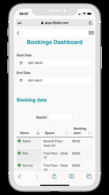 Macfarlanes Return to Office app - Bookings Dashboard