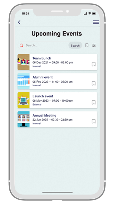 Communication Solution app - Upcoming events
