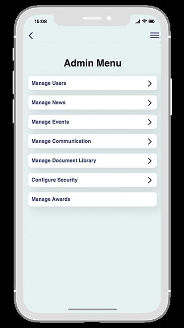 Communication Solution app - Admin menu